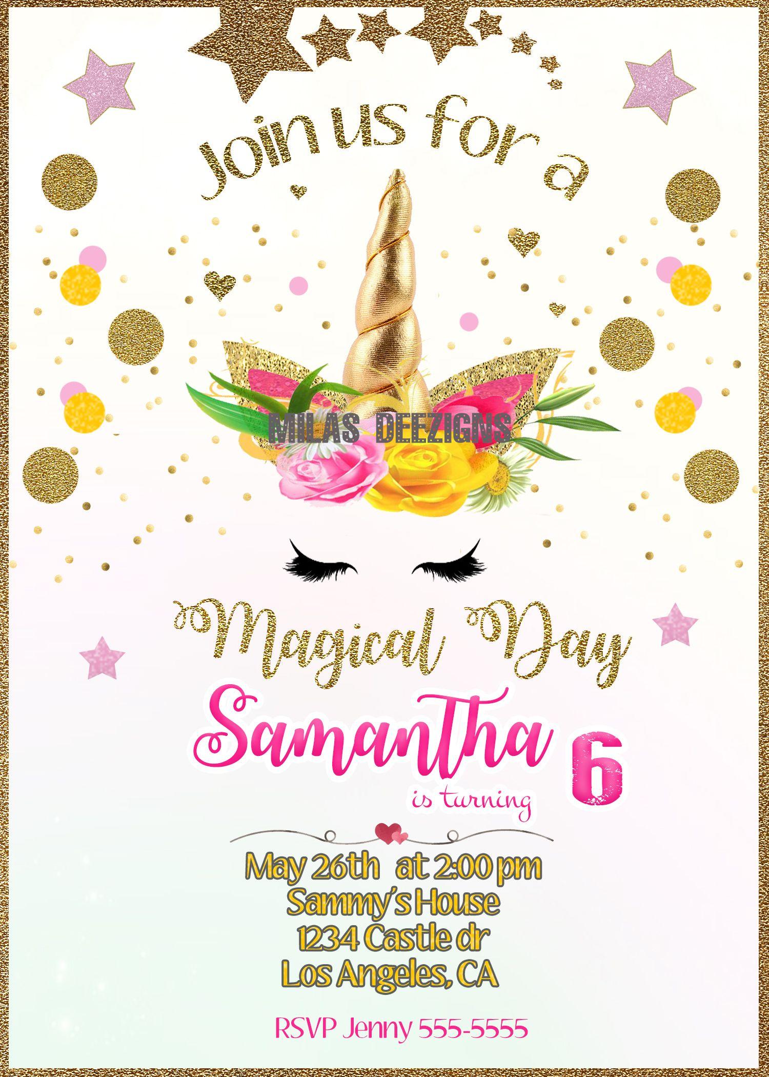 Unicorn Face Birthday Party Invitation Printable-Rainbow Unicorn ...