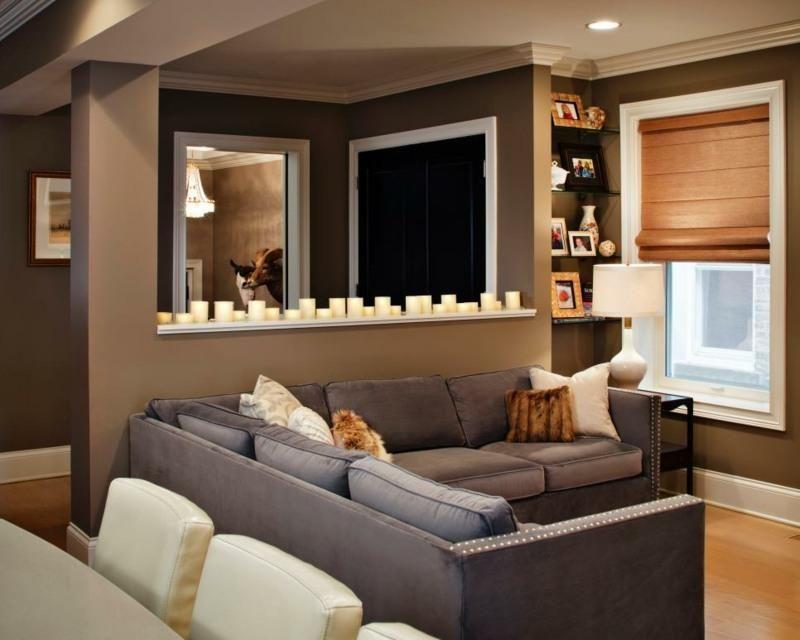 Moderne Ideen des Salons von braunen Wänden Interior Design Haus - wohnzimmer ideen grau