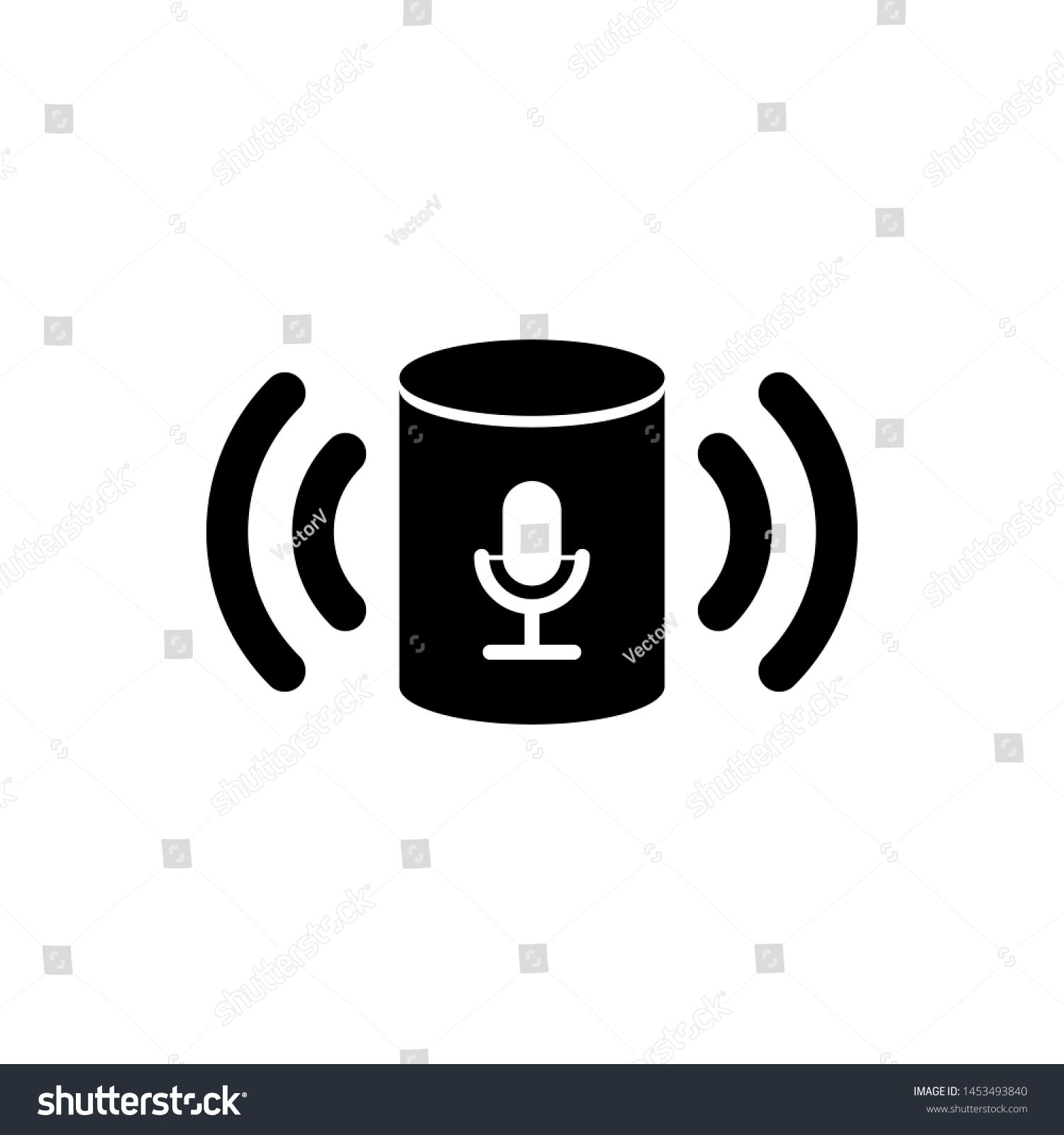 Black Voice Assistant Icon Isolated On White Background Voice Control User Interface Smart Speaker Ad Affiliate Print Design Trends Icon Voice Assistant