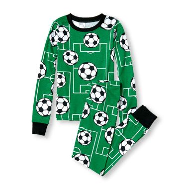 86b1b783f Boys Long Sleeve Soccer Ball And Field Print Top And Pants PJ Set ...