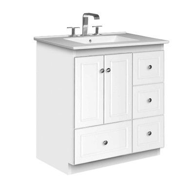 Simplicity 31 Single Bathroom Vanity Set By Strasser Woodenworks Pure White Vitreous China Tops Have Clean Lines Bathroom Vanity Single Bathroom Vanity Vanity