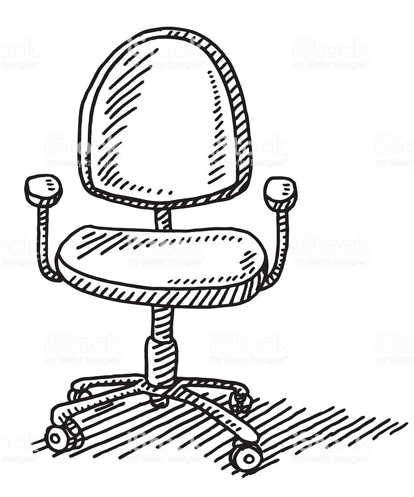 Hand Drawn Vector Drawing Of An Office Chair Black And White Sketch Chair Drawing Black And White Sketches Vector Drawing
