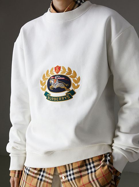 7c57bfd4e83e A reissued 1991 #Burberry Champion sweatshirt, embroidered with an archive  crest logo