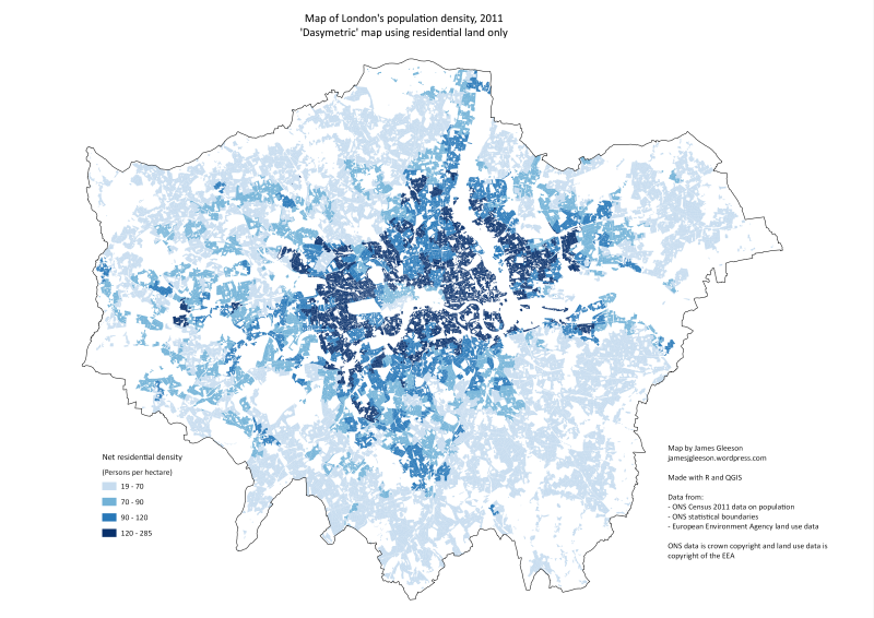 Dasymetric Map Of London S Population Density 2011 Map Map Diagram Data Map