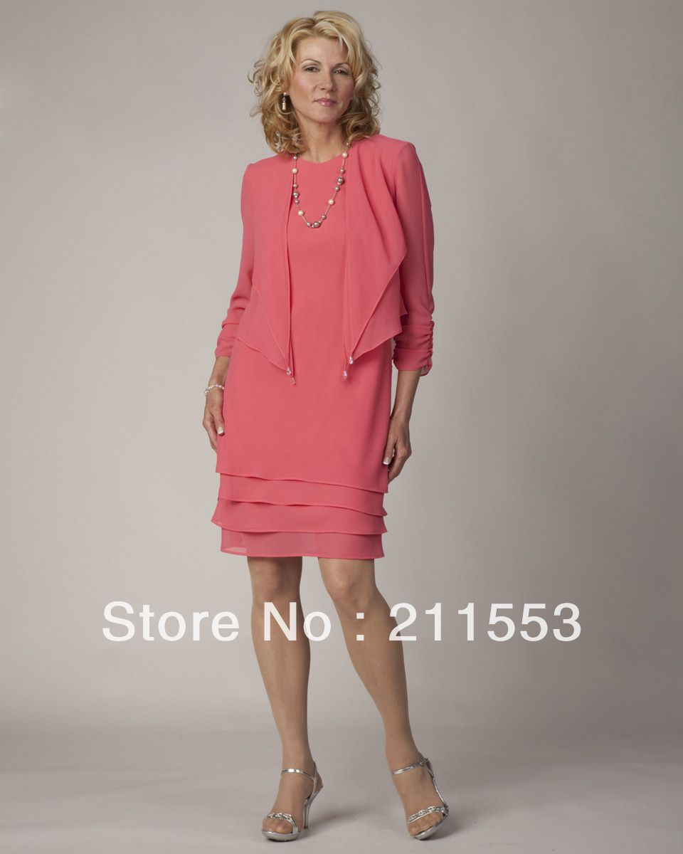 4f19702352647 mother of the bride coral chiffon | Elegant Two-Piece Chiffon Knee ...