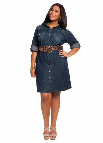 Ashley Stewart Womens Plus Size Denim Shirt Dress Denim 22 Fashion