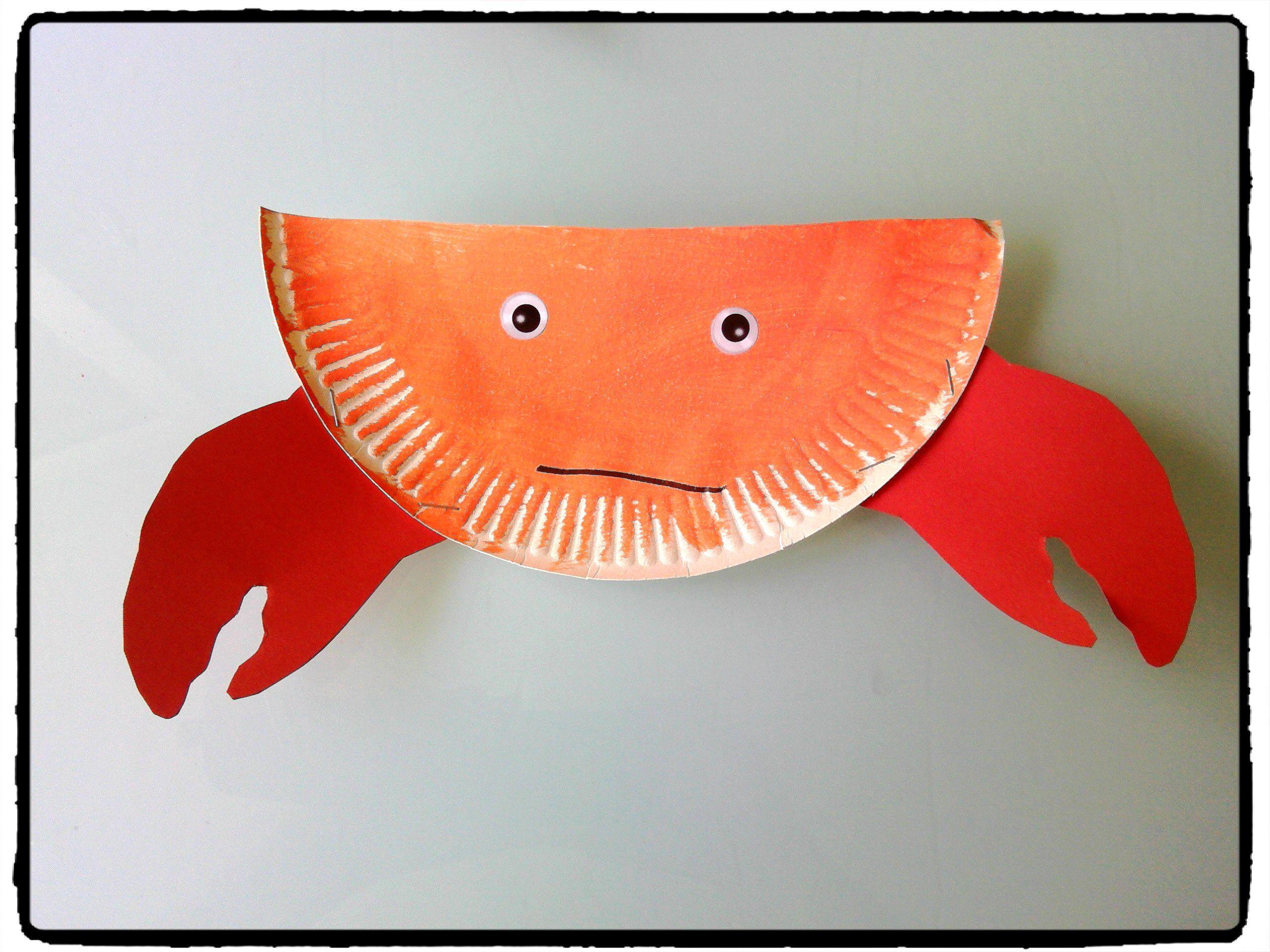 crabe en assiette en carton animaux plage oc an bricolage enfant b teau pinterest. Black Bedroom Furniture Sets. Home Design Ideas