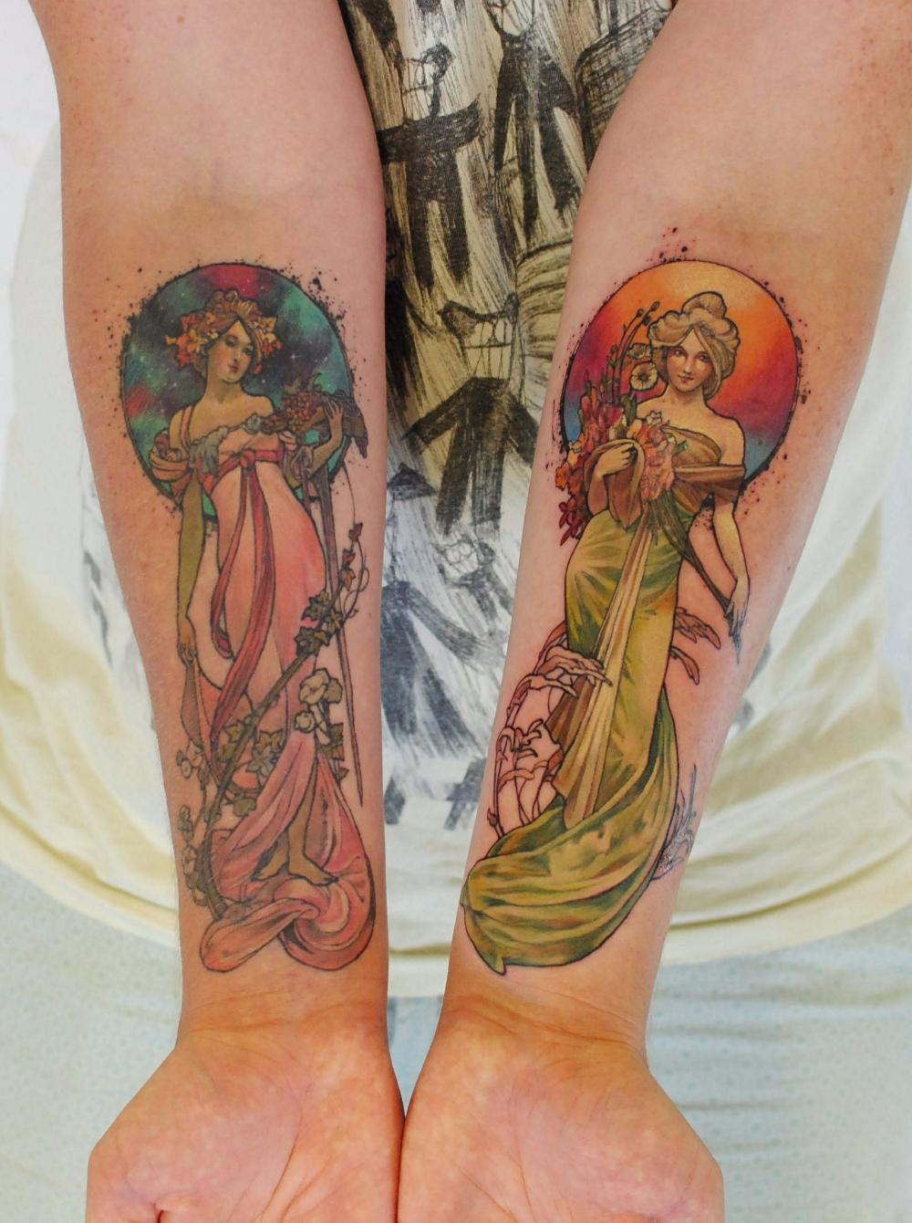 My Alphonse Mucha Tattoos by Versus Ink at Overlook Tattoo