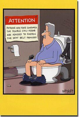 Warning in Bathroom Stall Funny Tim Whyatt Birthday Card by Nobleworks