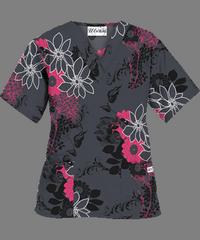 764fe598e14 UA Flower Harmony Pewter V-Neck Scrub Top | Scrubage! ;-D | Scrub ...