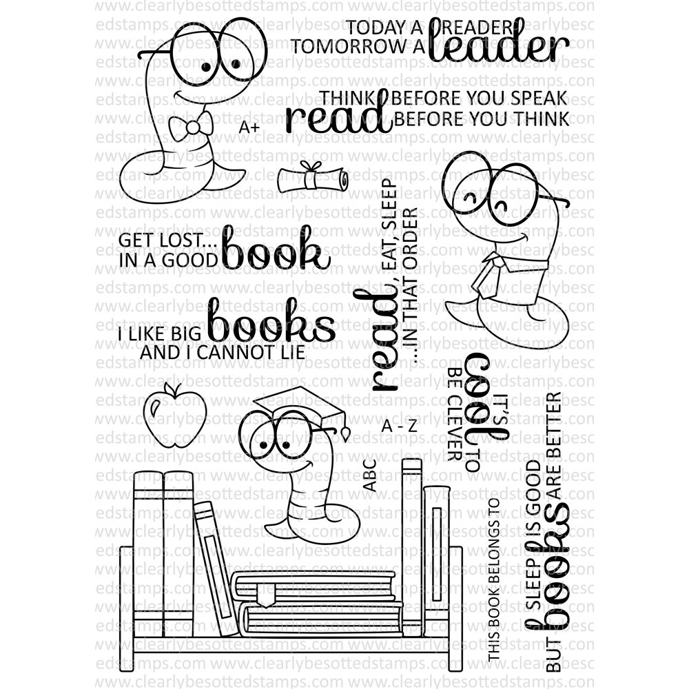 Clearly Besotted Bookworm Clear Stamp Set Book Worms Book Stamp Clear Stamps