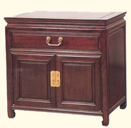26u0027u0027H.Oriental Two Door Antique End Table