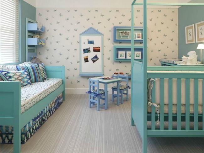 Dirmitorio para ni o y ni a de estilo vintage - Colores habitacion nino ...
