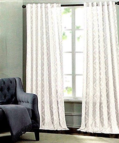 Amazon Com Tahari Home Medallion Pair Of Curtains In Silver Grey