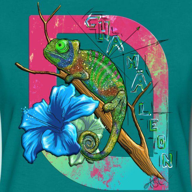 chamaeleon mit hibiskus  frauen premium tshirt