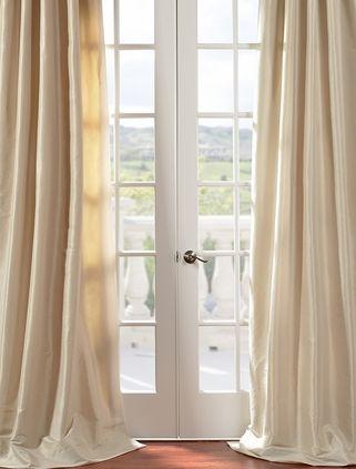 Antique Beige Faux Silk Taffeta Curtain Silk Drapes Curtains Custom Curtains