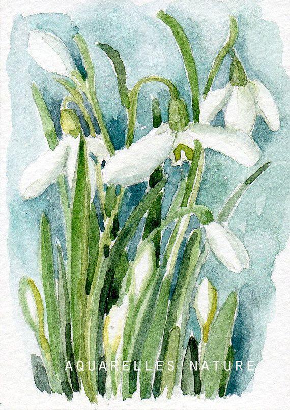 Perce-neige, miniature, aquarelle originale, fleurs d'hiver, fleurs blanches, art miniature