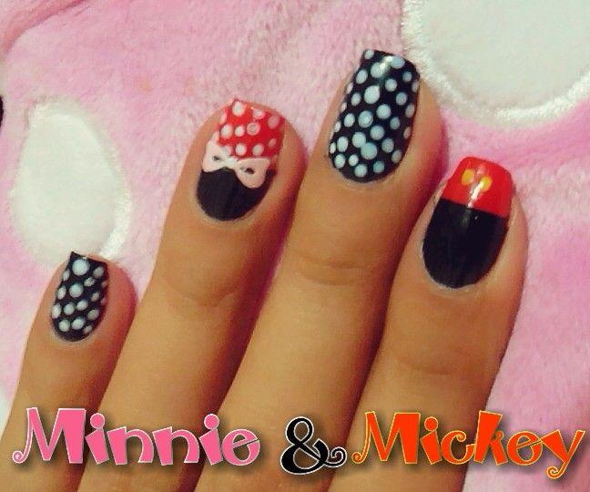 Uñas minnie y mickey | diseño de uñas | Pinterest