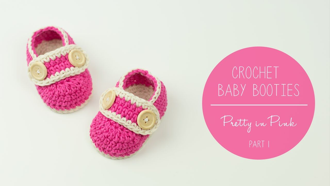 Crochet Baby Booties Pretty In Pink - part 1 SOLE | Croby Patterns ...