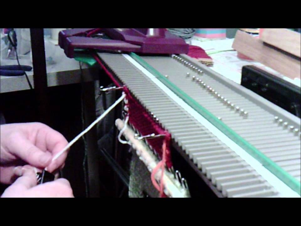 video on how to keep edge from curling on a knitting machine ...