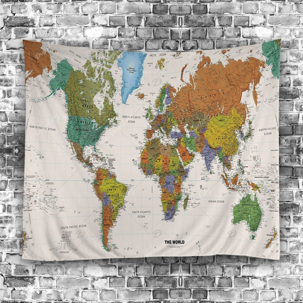 Wall hanging art world map print tapestry hanging art tapestry wall hanging art world map print tapestry gumiabroncs Images