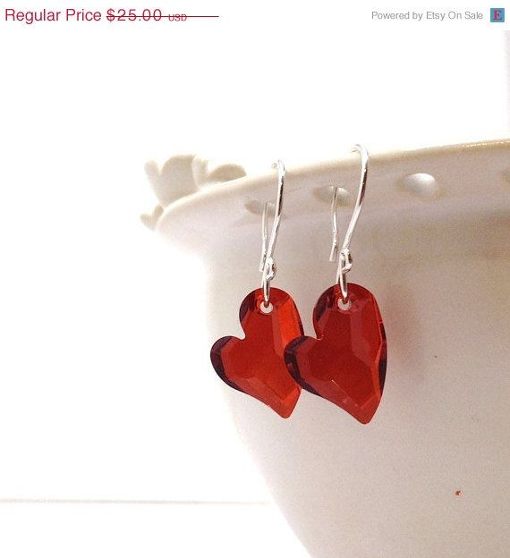 Valentines Day Sale Red Heart Earrings by GirlBurkeStudios on Etsy, $22.50