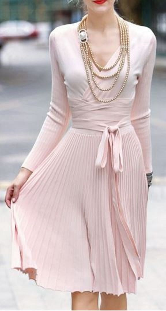 78974988f73 Love Pink! Gorgeous Pale Pink V-Neck Self-Tie Belt Pleated Sweater Dress   Love  Pink  Sweater  Dress  Winter  Holiday  Fashion