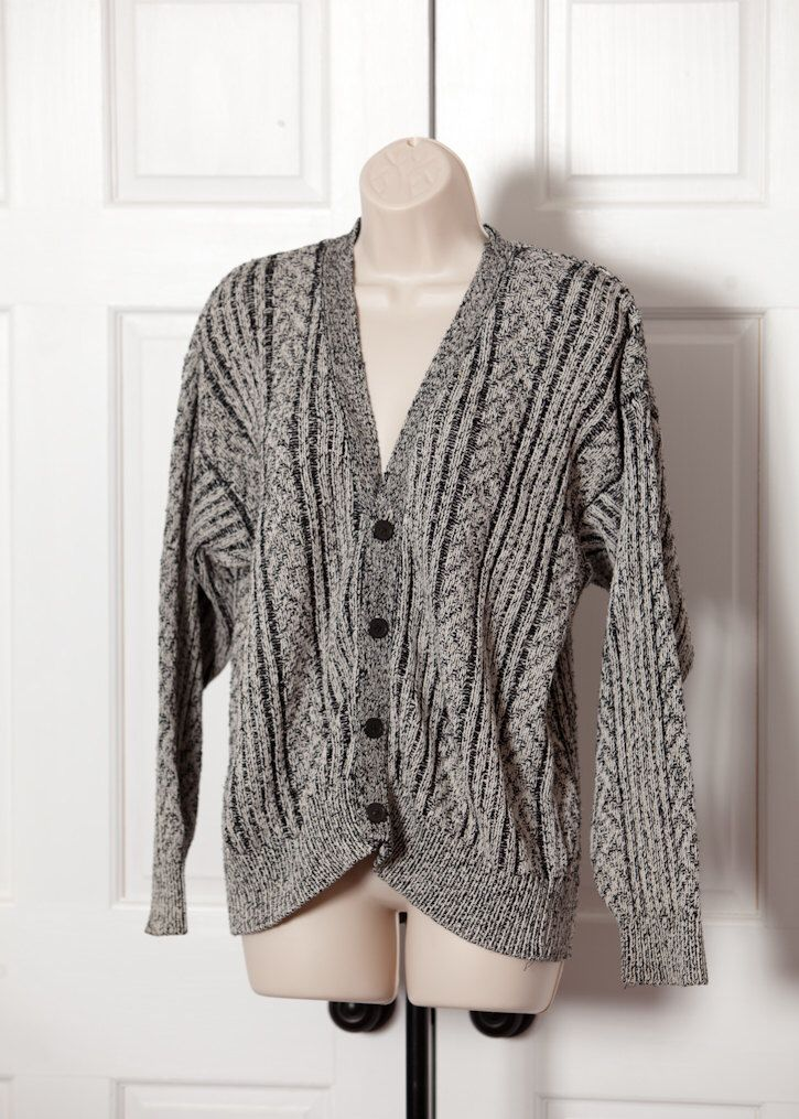 Womens 80s 90s Sweater Cardigan Lord Taylor Navy White M