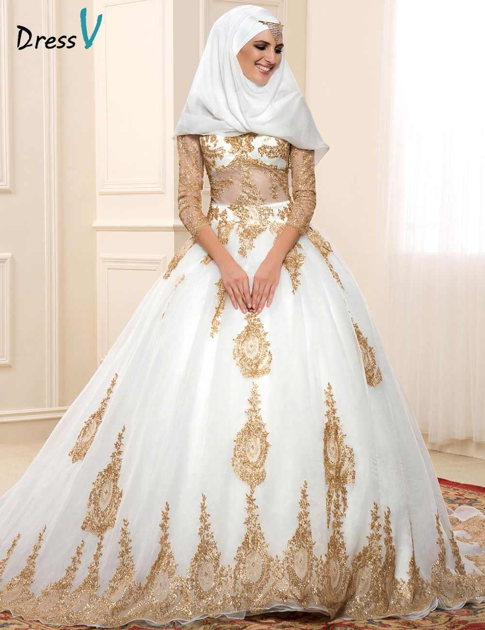 Click to buy ucuc luxury muslim wedding dresses vneck golden
