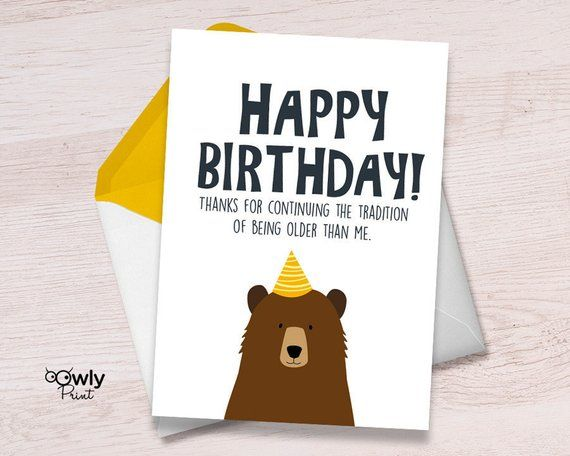 Printable Bear Happy Birthday Card Ready To Print