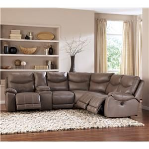 Pegram pebble leather match reclining sectional w for Sectional sofa furniture fair