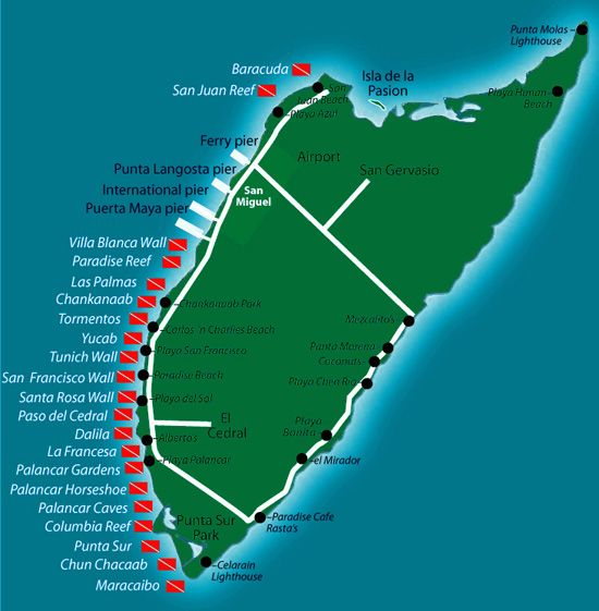 Cozumel scuba diving cozumel dive sites map dive life - Padi dive locations ...
