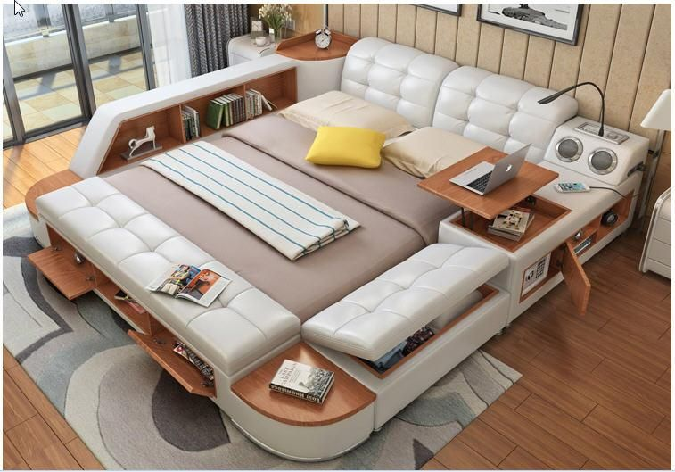 Best Bed Leather Bed With Storage Box And Sideboard Leather 400 x 300