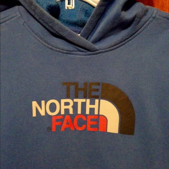 North face boys xl sweat shirt Royal blue north face hoodie. Probably worn about 5 times. There is a little bit of sign of wear around the sleeve as pictured. It may wash out.. Probably = to women's medium. North Face Tops Sweatshirts & Hoodies