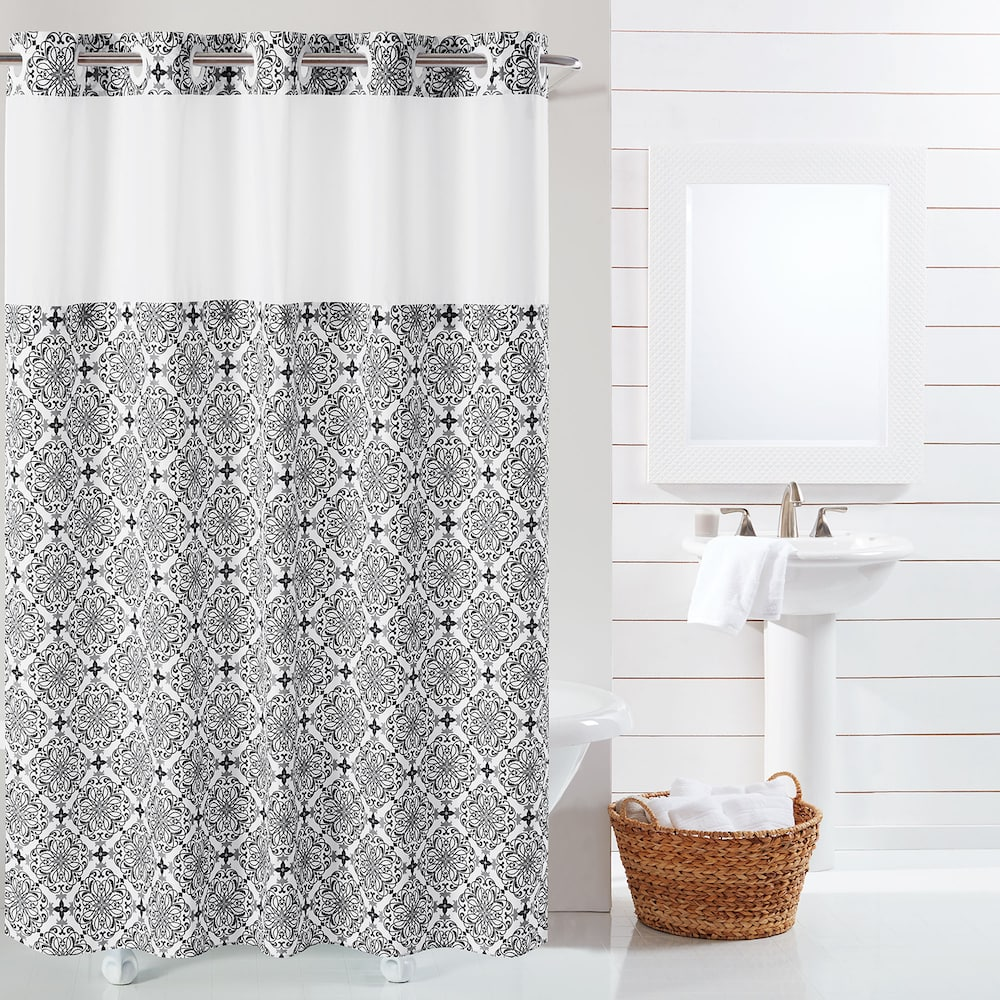 Hookless Vervain Shower Curtain Liner Black 71x74 Hookless
