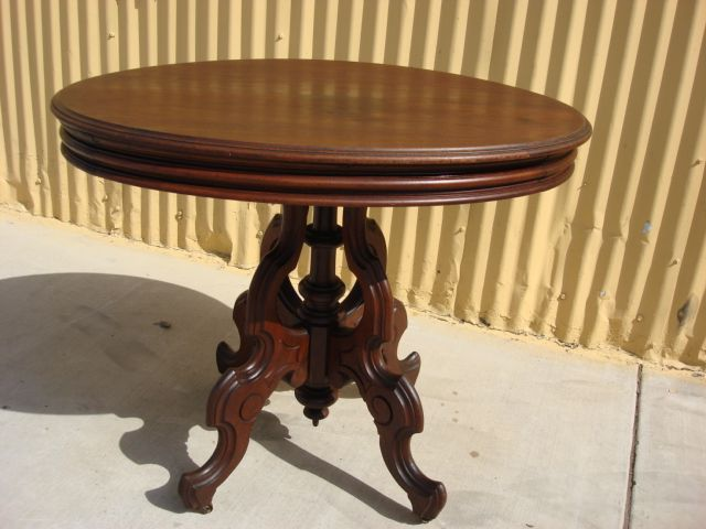 This is a beautiful American antique Victorian parlor table that is made  out of walnut and - This Is A Beautiful American Antique Victorian Parlor Table That