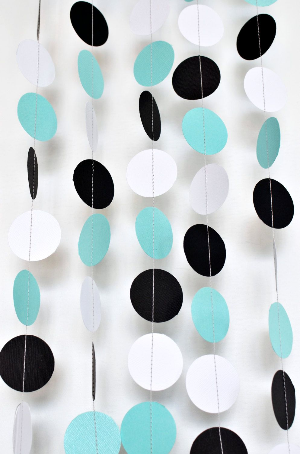 Turquoise black and white 10ft, Paper Garland, Birthday Party Decor ...