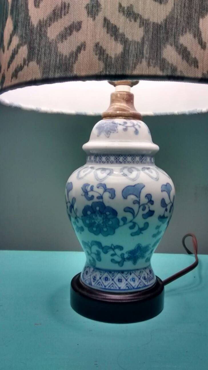 Blue and white glass table lamp Oriental lamp delft blue lamp bedroom lamp is part of bedroom Blue Lamps - This is a beautiful delft blue table lamp in good working condition  It measures 11 5  tall without the bulb and is 4 5  wide at the widest diameter  This lamp would look great in a guest bedroom  Comes without bulb or shade