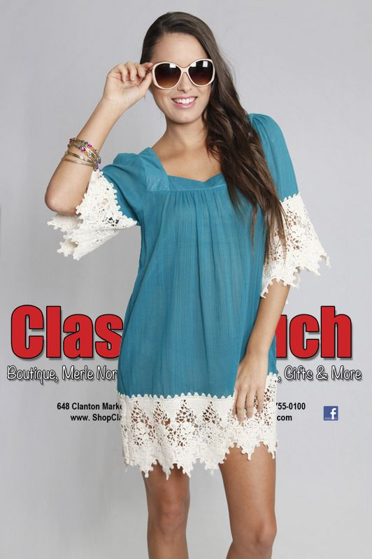 Tunic Dress With Lace Trim. Available in S, M & L