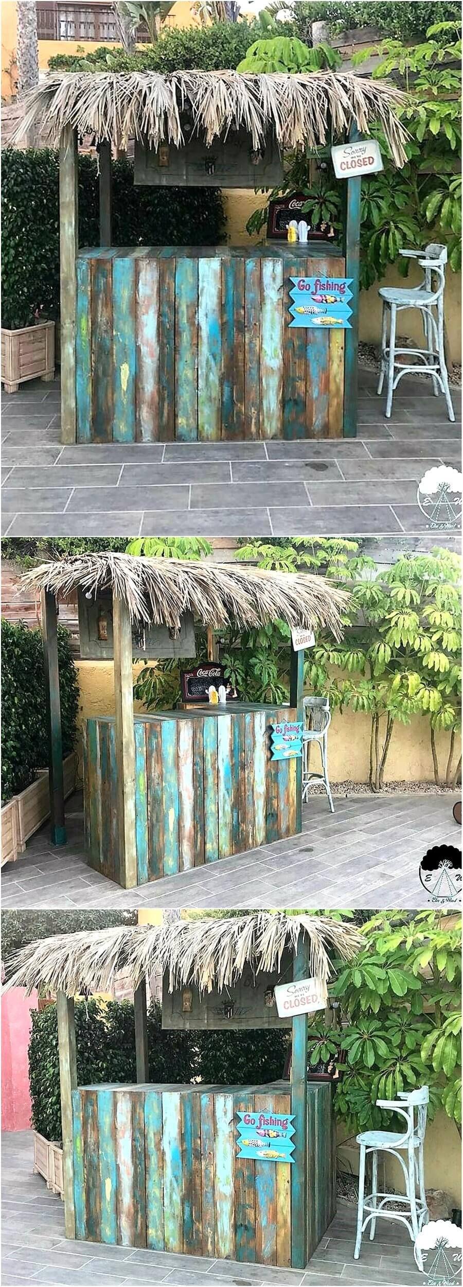Pallets Wooden Made Retro Look Bar #patiodepapas