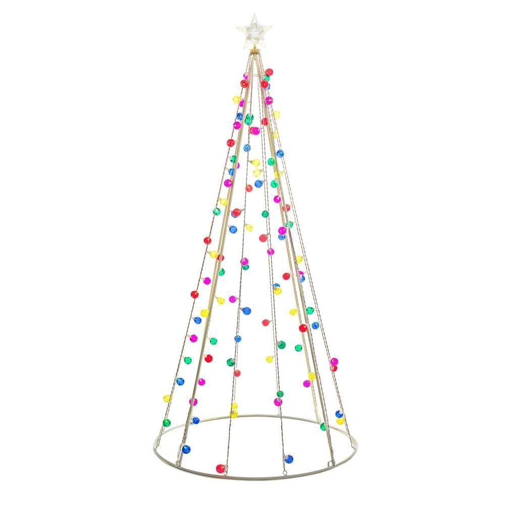 Home Accents Holiday 7 Ft Cone Tree With 105 Multi Color Lights Ty171 1218 The Home Depot Outdoor Christmas Tree Decorations Outdoor Christmas Outdoor Christmas Tree