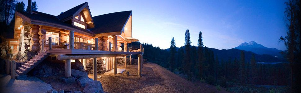 Log cabin on a hill with mt shasta and lake siskiyou for Lake siskiyou resort cabins