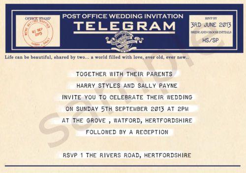 PERSONALISED VINTAGE TELEGRAM WEDDING INVITATIONS - NAVY BLUE