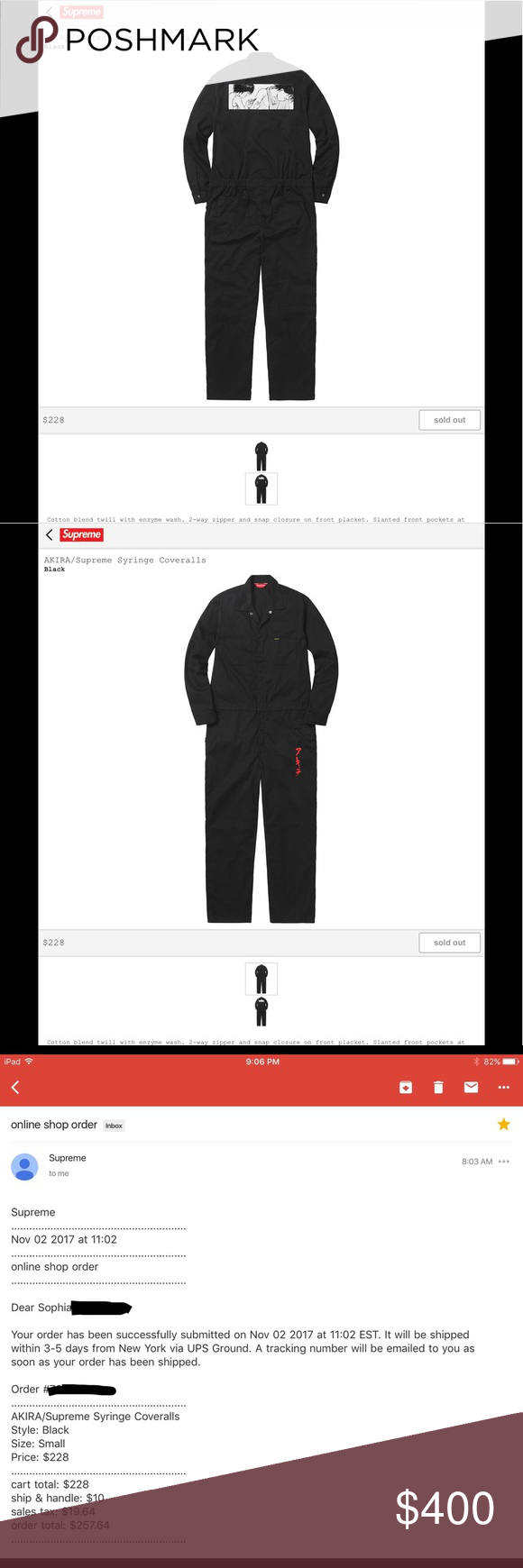 outlet store 7d9da a6135 ... CONFIRMED AKIRA SUPREME COVERALLS S Will ship out the week of 112617 ...