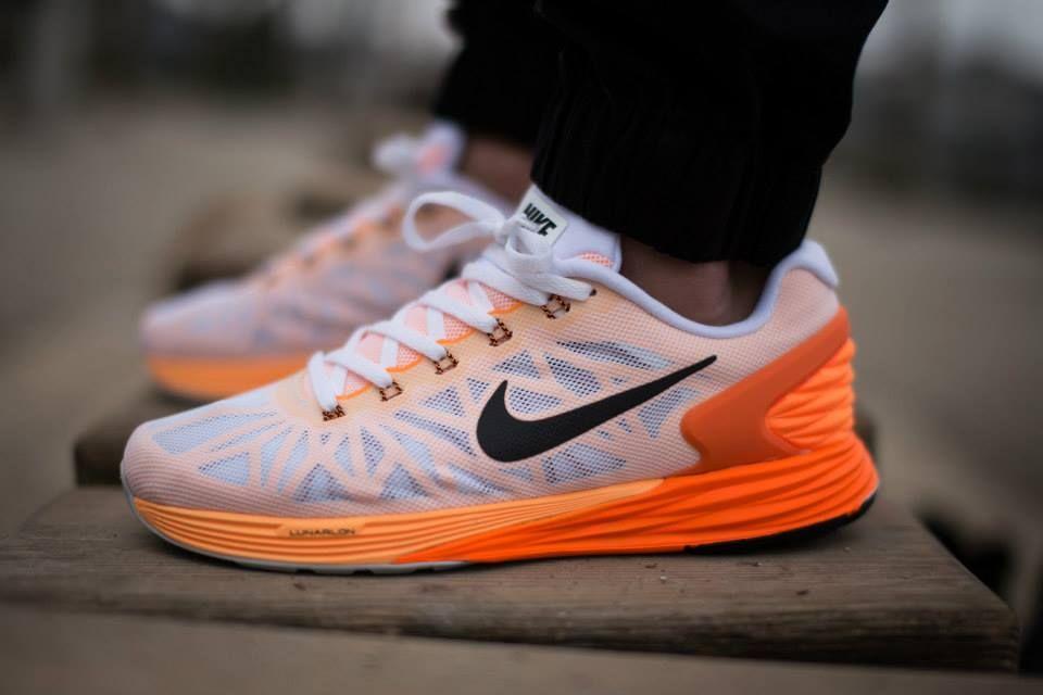 Nike Lunarglide 6 White Orange Sneakers Nike Nike Lunarglide Nike Shoes