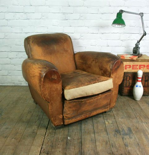 Amazing Vintage Industrial French Brown Leather Club Chair Loft Prop Alphanode Cool Chair Designs And Ideas Alphanodeonline