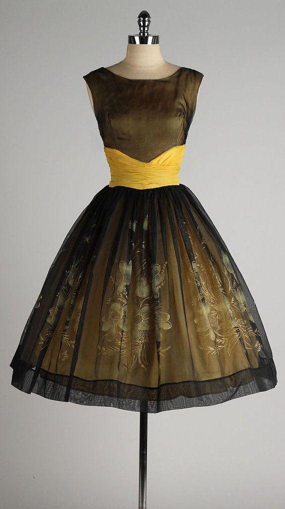 vintage 1950s dress . black chiffon . metallic flower print . 4392
