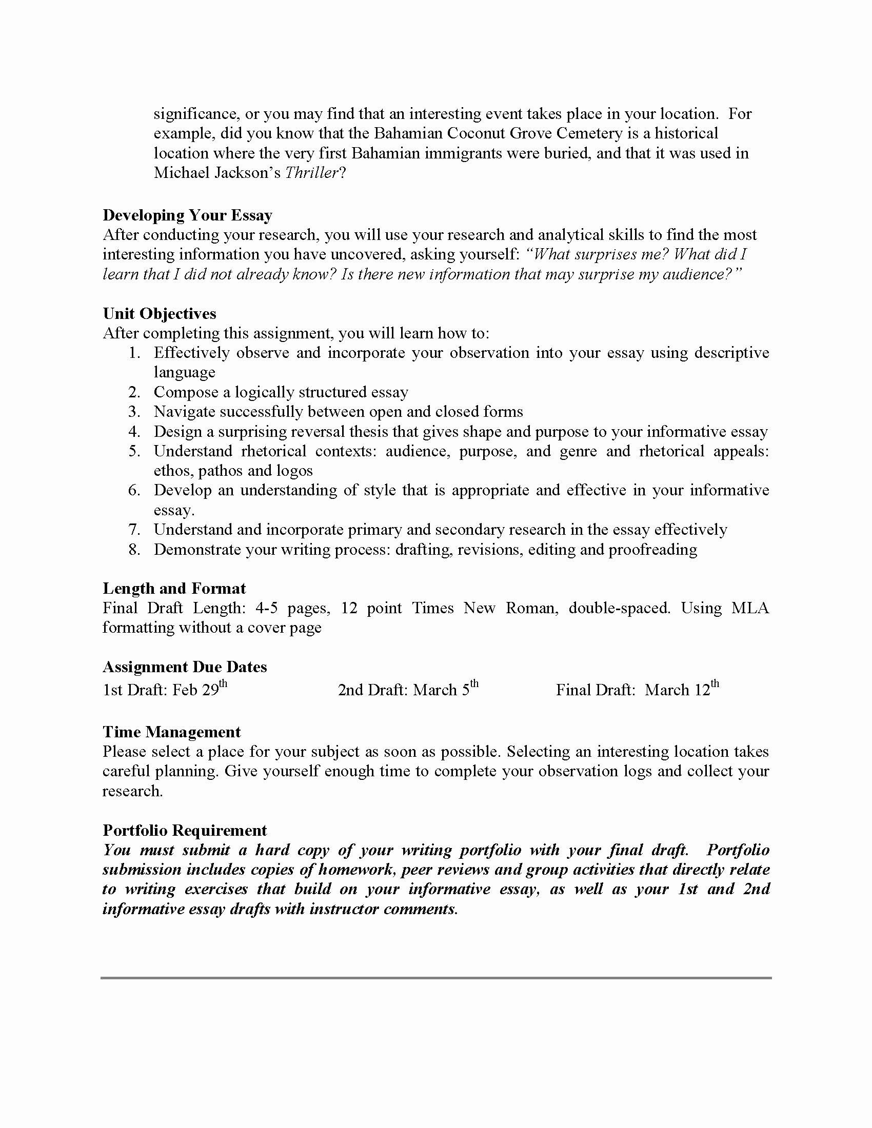 Example Of Informative Writing Awesome Unit 2 Essay Informational Obstacle