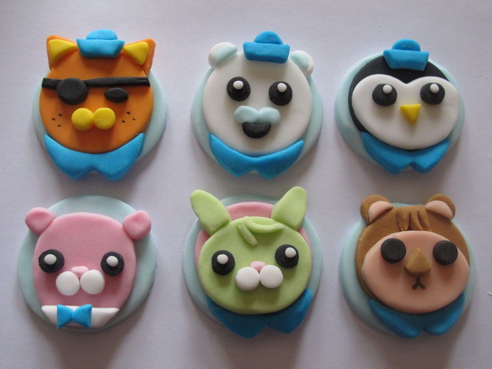 6 large fondant 2d handmade sugar octonauts cupcake