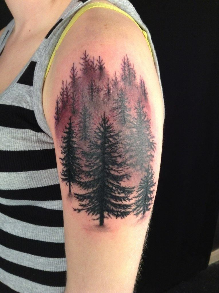 Pine Tree Forest Tattoo : forest, tattoo, Angelica, Beauty, Forest, Tattoos,, Tattoo